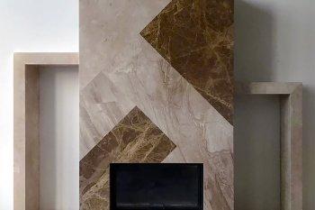 Камин из мрамора Имперадор Лайт, Дайна Реале и Крема Нова